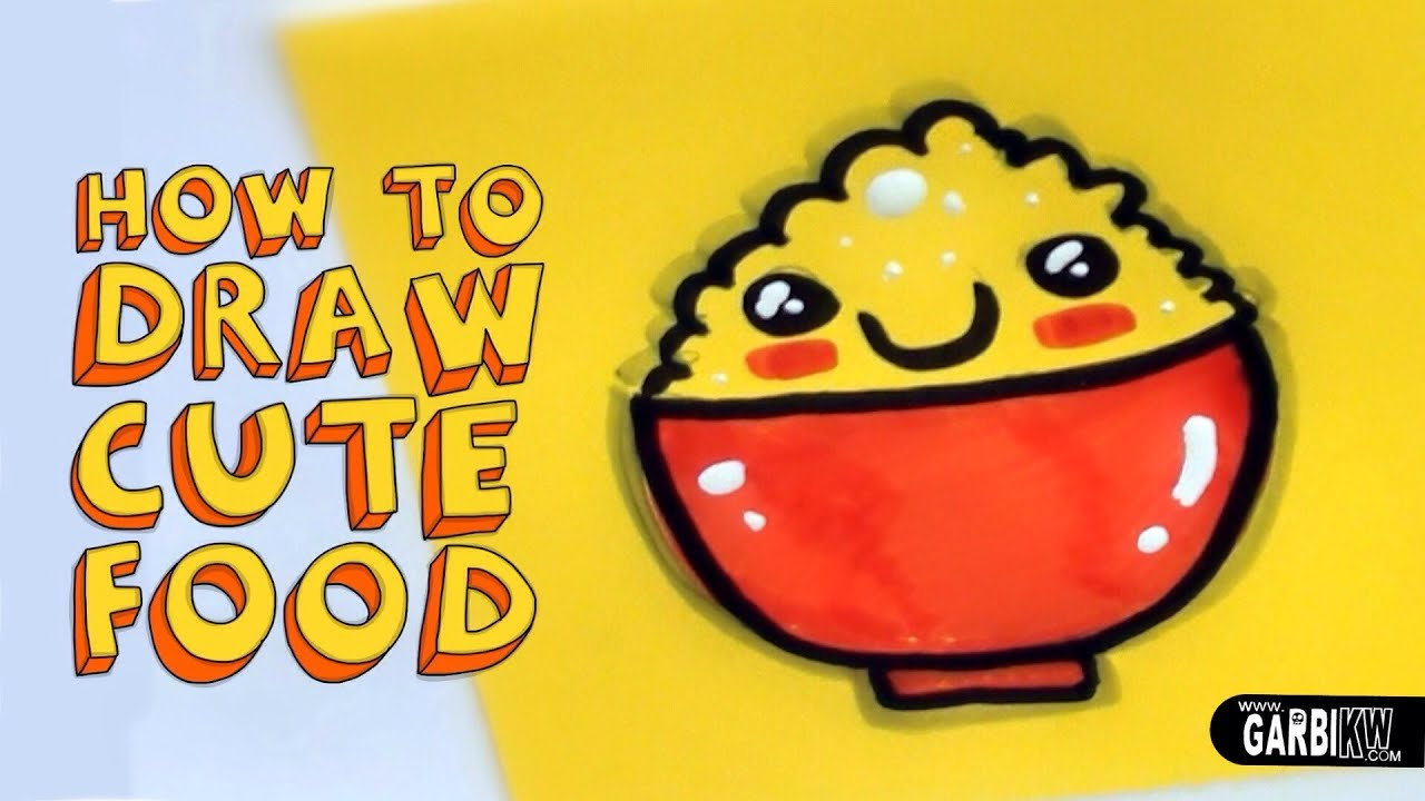 How To Draw Cute Rice - Kawaii Food - Easy Drawings by ...