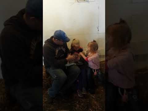 Aubrey, Adelyn & Dad holding a 4 day old lamb!