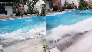 Swimming Pool Shakes Like Wave Pool During Earthquake