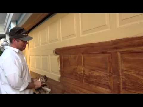 Z freeman woodgrain on garage door youtube for How to paint faux wood garage doors