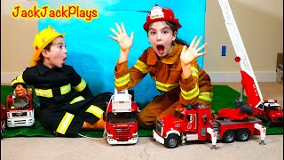 Pretend Play Firefighters Rescue the JackJackPlays Box Fort with Bruder Fire Trucks