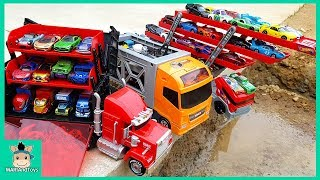 Car Toy Learning Videos for Kids. Disney Tomica Cars3 Truck Hauler Carry Case Display | MariAndToys