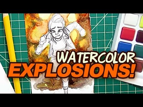 Painting 🎆 EXPLOSIONS 🎆 in Watercolor   September SCRAWLRBOX