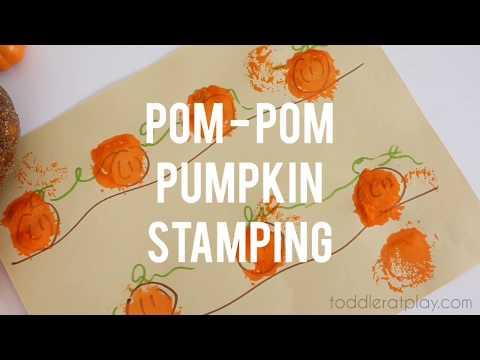 pom-pom-pumpkin-stamping-|-easy-craft-idea-for-kids