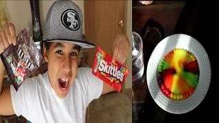 DIY SKITTLES VS M&M'S RAINBOW MAGIC TRICK