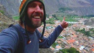 Hiking in the Andes at Ollantaytambo, Peru (near Machu Picchu)