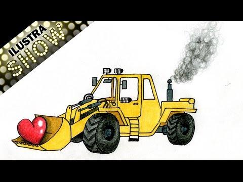 Como Dibujar Tractor Bulldozer Con Corazon Sencillo Tutorial