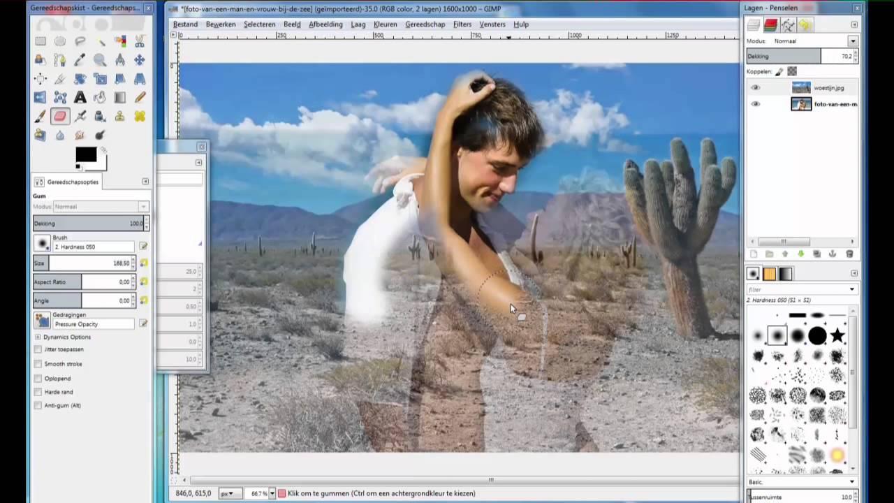 gimp foto s samenvoegen werken met lagen