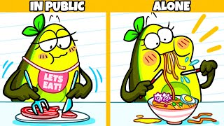 In Public vs Alone | Funny Cartoon by Avocado Couple