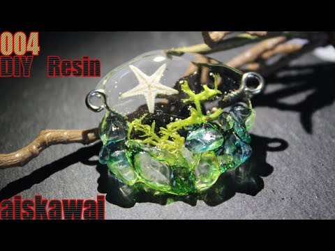 [Resin Tutorial] Making an ocean landscape pendant without silicone mold/ DIY Resin