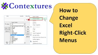 How to Change Excel Right-Click Menus