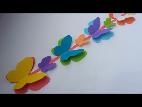 DIY: Wall Decoration Idea!!! How to Make Beautiful Paper Butterfly Hanging for Wall Decoration!!!