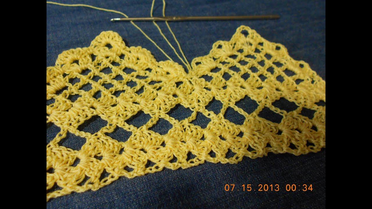 Orilla tejida en Picos parte 1 de 2 Crochet - YouTube