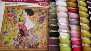 Вышивка. Обзор набора ''Дама с веером''  по мотивам картины Густава Климта от фирмы''Риолис.''
