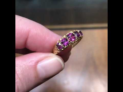 Antique mid-Victorian garnet ring, hallmarked for Birmingham 1872