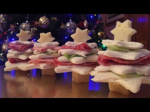Antipasti Di Natale Belli.Antipasti Di Natale Alberelli Con Pane Da Tramezzini Ricette Natalizie Facili E Veloci Youtube