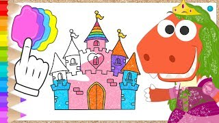 Learn with Eddie: How to Color in Princess Castle 👸🏻🏰 Eddie the Dinosaur Builds Cardboard Castle