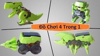 Đồ chơi năng lượng mặt trời 4 trong 1 - khủng long, robot, côn trùng, xe khoan hầm
