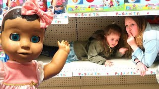 Hide and Seek Baby Doll Play in Toy Store! Ruby Rube & Bonnie Kids Pretend Play
