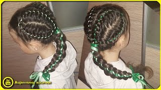 🍃Милая прическа для девочки из четырехпрядной косы с лентой🍂 | Как заплести ребенка в школу?(Прическа для девочки