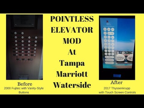 POINTLESS Modernization: 2000 Fujitec & 2017 Thyssenkrupp Elevators @ Waterside Marriott, Tampa, FL