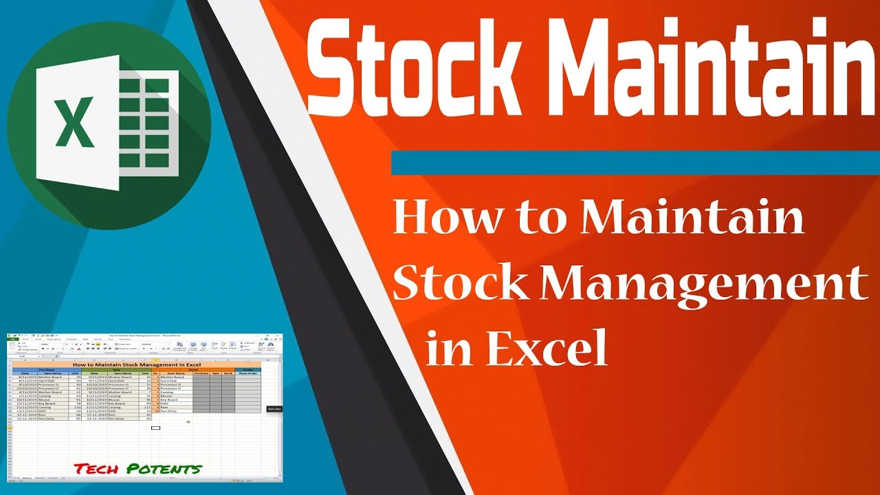 How to Maintain Stock Managment in Excel || Stock Maintain ...