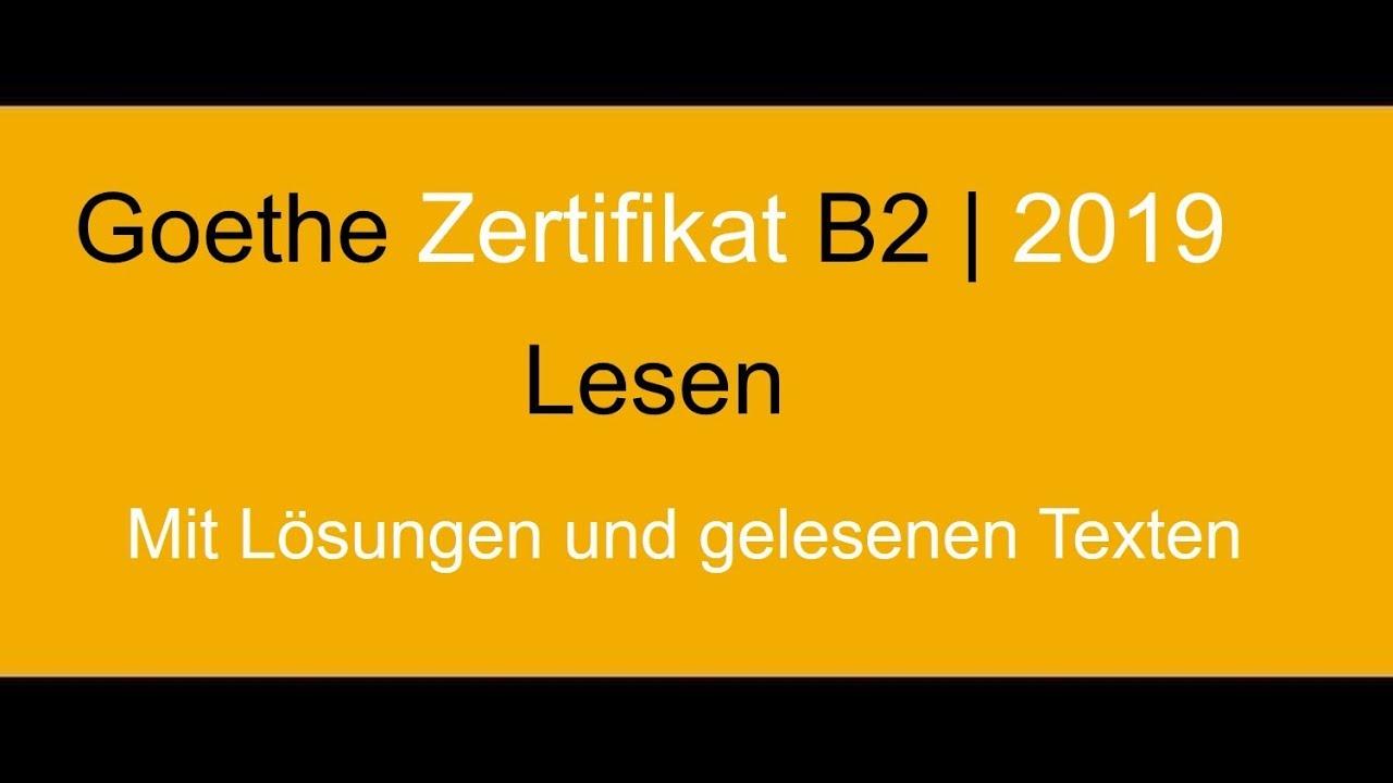 Goethe Zertifikat B2 Lesen Neu German Reading Exam Goethe