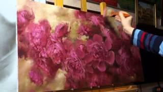"""""""Пионы"""". Олег Буйко.  Живопись маслом. Process of creating oil painting. 油畫  油絵"""