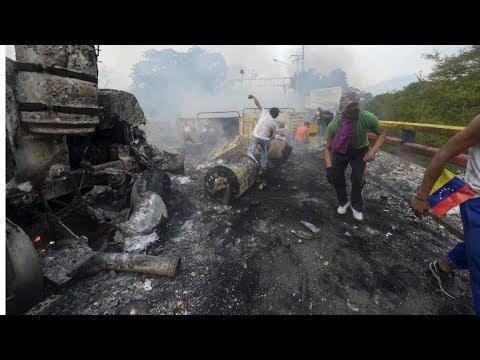 Venezuela   Queman camiones con ayuda humanitaria