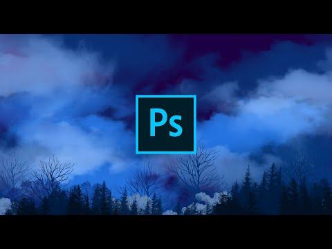 Cara Melukis Landscape Hutan dan Awan Digital Painting Speed Art | Adobe Photoshop CC