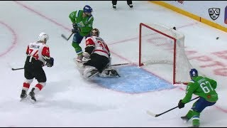 Harty scores it off the crease