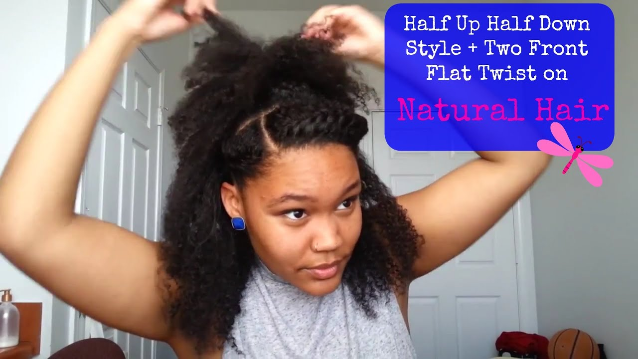 Half Up Half Down Ponytail With Two Front Flat Twist
