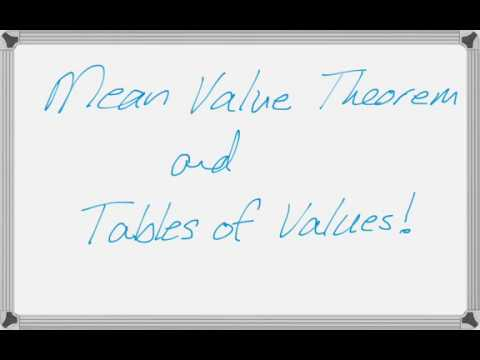 Using the Mean Value Theorem with a Table of Values