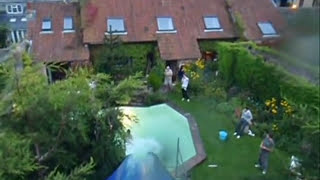 40ft Home made water slide, speed chute, VIDEO FOOTAGE AT 1:20