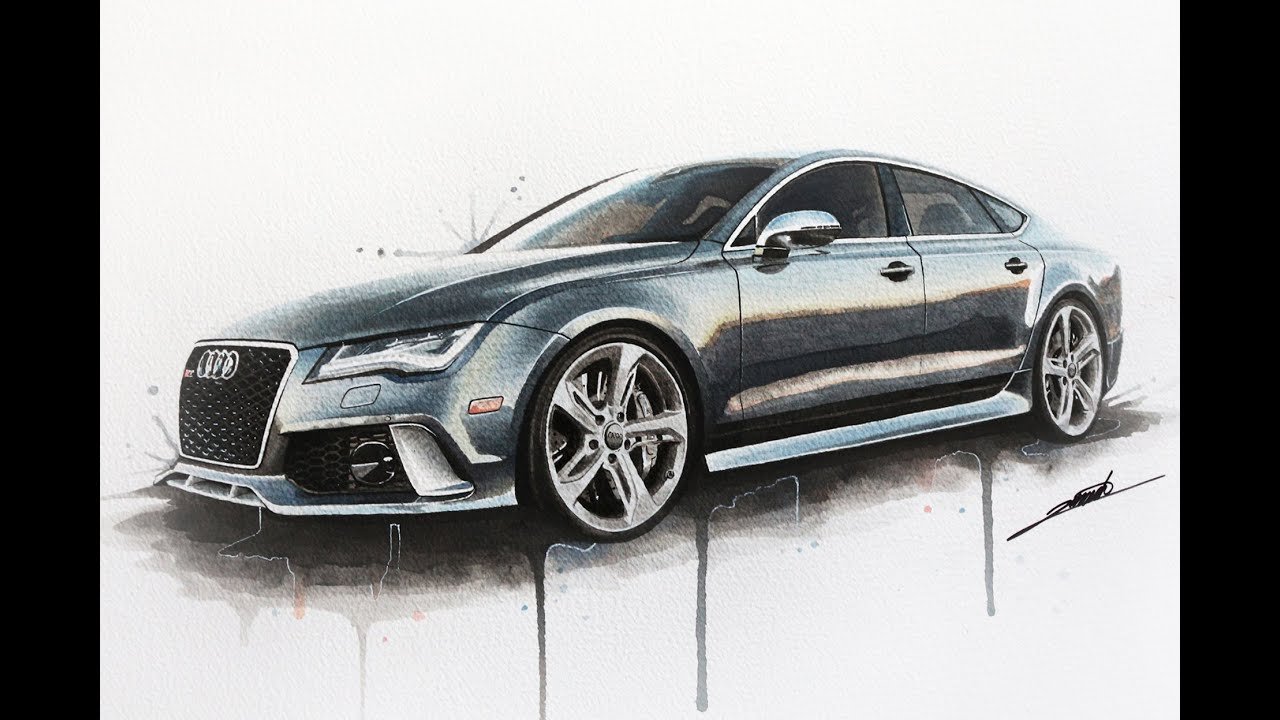 Audi Rs7 Watercolour Painting Youtube