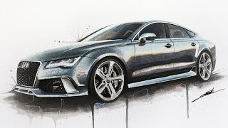 Audi RS7 Watercolour Painting