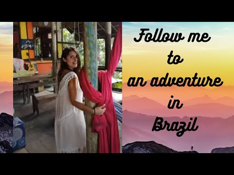 Hot girl in transparent dress reviewing amazing hippie hang-out in jungle of Brazil - 2018
