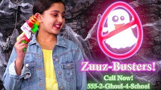 Zuuz-Busters 👻 Ghost Hunting At The Haunted Hotel - Halloween Princesses In Real Life | Kiddyzuzaa