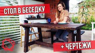 Самая удачная конструкция уличного стола в беседку + чертежи
