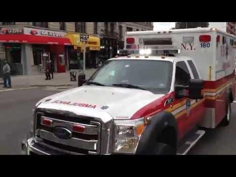 BRAND NEW FDNY EMS AMBULANCE RESPONDING ON BROADWAY IN HAMILTON HEIGHTS, MANHATTAN IN NEW YORK CITY.
