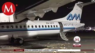 Aviones de Aeromar chocan en AICM