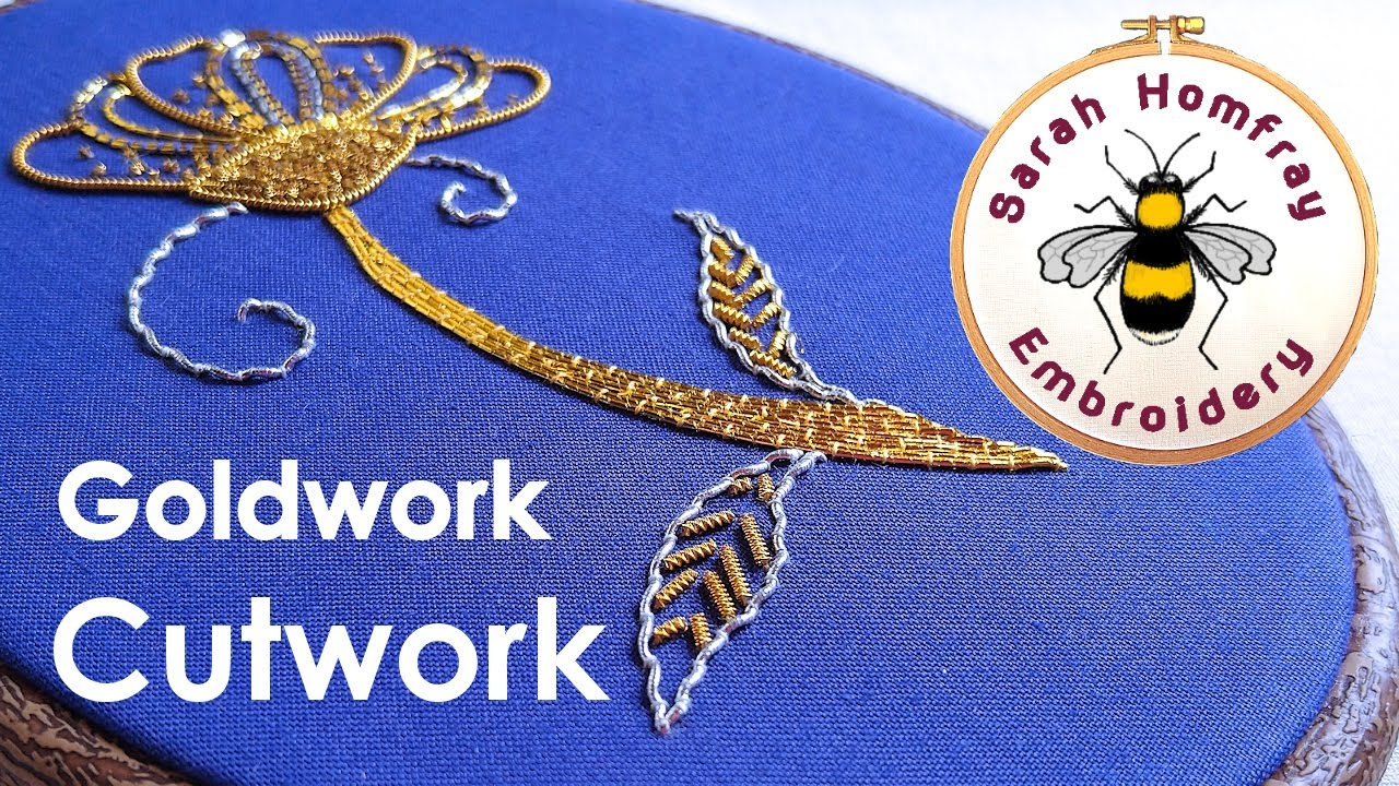 Hand embroidery goldwork tutorial part cutwork