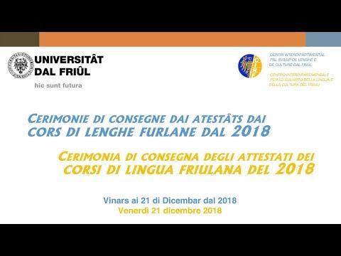 Cerimonia di consegna degli attestati dei corsi di lingua e cultura friulana 2018