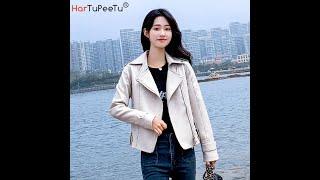 Куртка женская из искусственной кожи на молнии в корейском стиле 2021 купить с Aliexpress