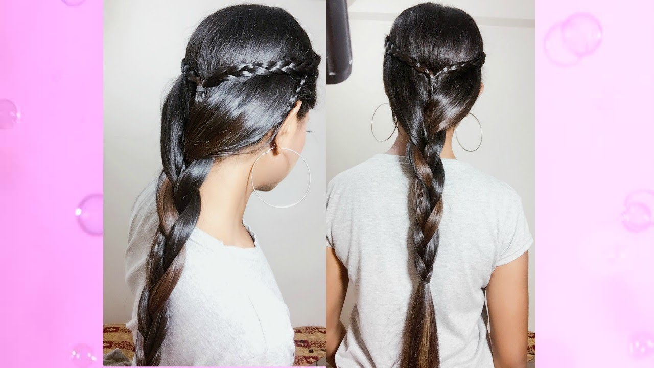 Everyday Indian Hairstyle For School/College Girls Medium Long Hair ...