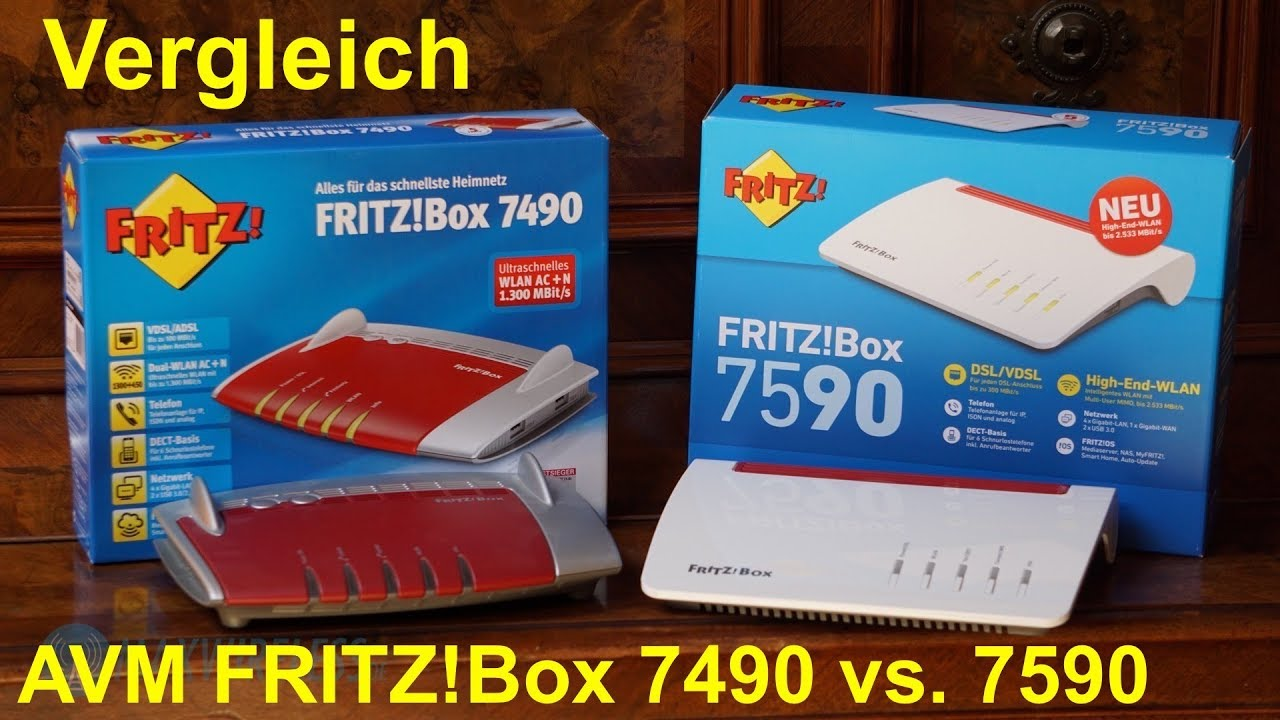 Vergleich: AVM FRITZ!Box 7590 vs. 7490 - YouTube