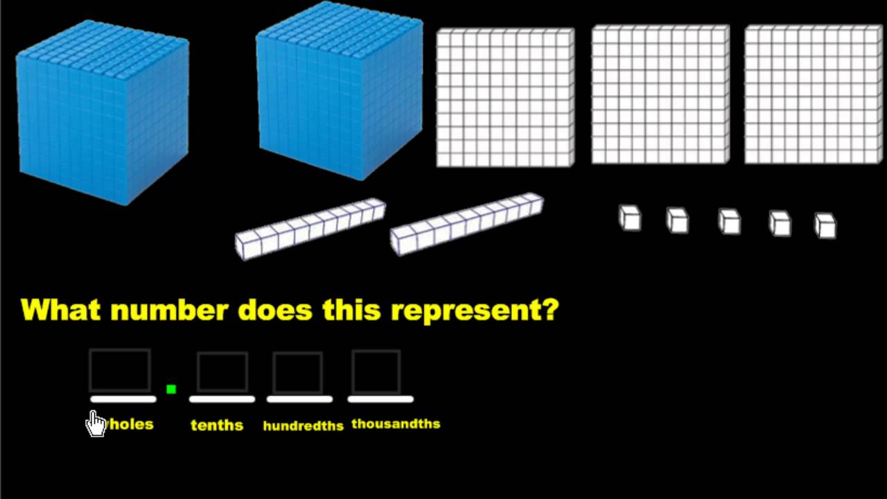 medium resolution of Representing Decimals Using Base Ten Blocks - YouTube