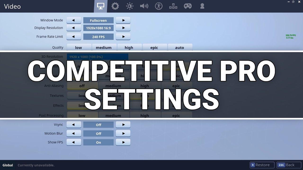 Fortnite Best Competitive Settings Pro Battle Royale Pc