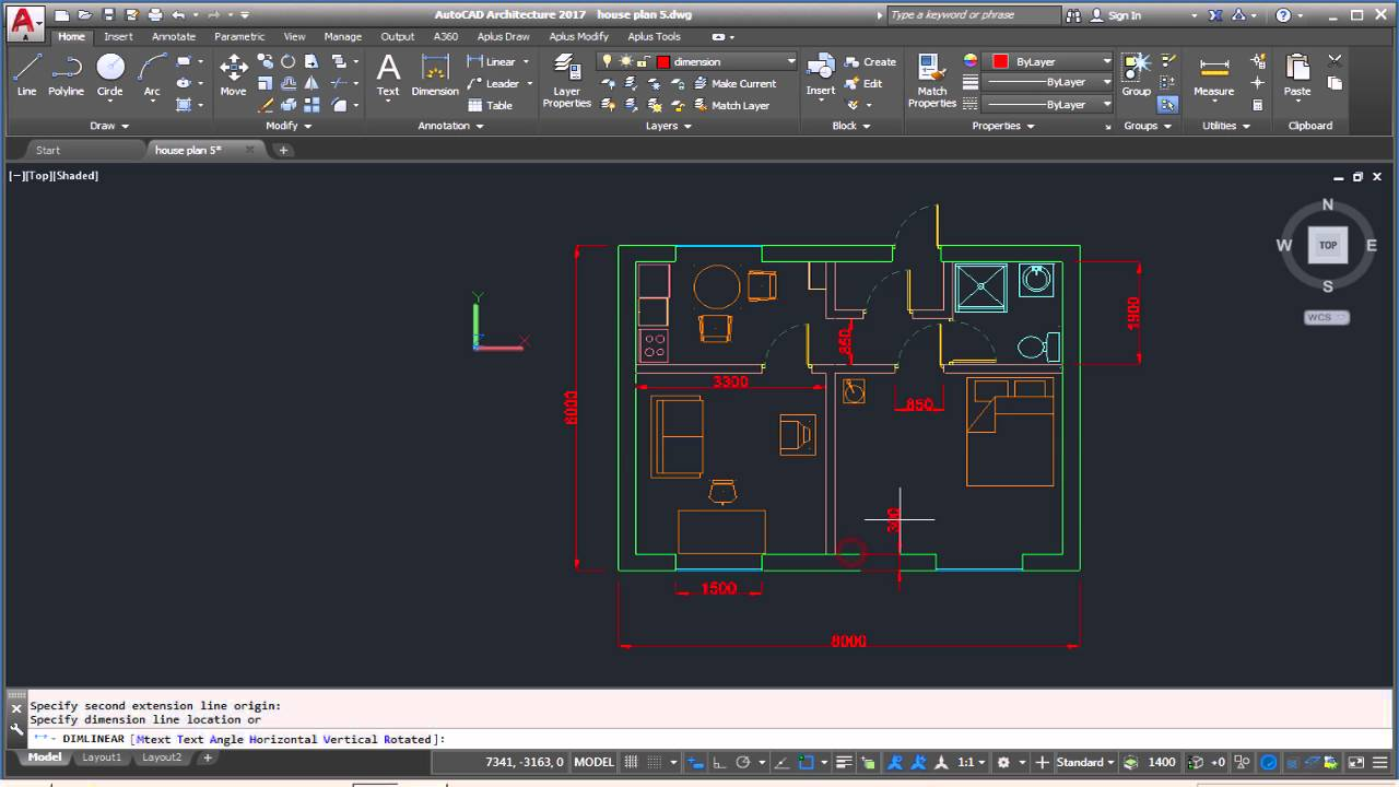 AutoCad Complete Floor Plan/ Part 6 ( Adding Dimensions And Dimension  Style) Tutorial