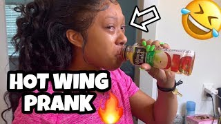HOT WING PRANK ON GIRLFRIEND *She Cried*